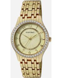 Ashley Stewart Plus Size Stone-embellished Link Bracelet Watch - Metallic