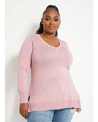 Ashley Stewart - Plus Size Embellished V-neck Sweater - Lyst