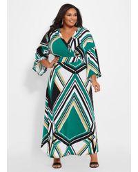 bc8ecf6669 Ashley Stewart - Plus Size Printed Drama Sleeve Dress - Lyst