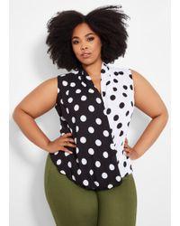 c5fae497022ec Ashley Stewart - Plus Size Sleeveless Dot Surplice Blouse - Lyst