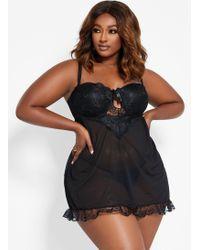 Ashley Stewart Plus Size Lace Cutout Babydoll Set - Black
