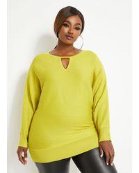 Ashley Stewart Plus Size Keyhole Dolman Sleeve Sweater - Yellow