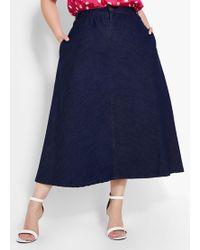 Ashley Stewart Plus Size Denim A-line Skirt - Blue