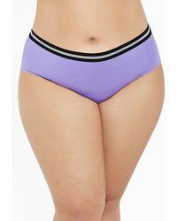 Ashley Stewart Plus Size Metallic Striped Hipster Panty - Purple