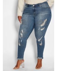 f0214f9c420 Ashley Stewart - Plus Size Sequin Destructed Jeans - Lyst