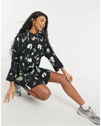 Monki Черное Платье-рубашка Мини Из Переработанных Материалов С Абстрактным Принтом Moa-черный Цвет