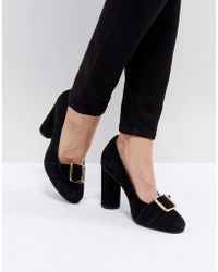 SELECTED - Suede Round Toe Court Shoe With Buckle - Lyst