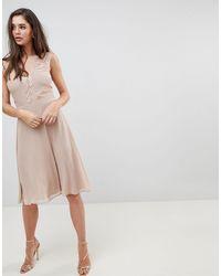 Elise Ryan Midi Dress With Lace Detail - Brown