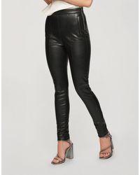 Miss Selfridge Faux Leather Seam Detail legging - Black