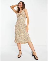Abercrombie & Fitch Midi Slip Dress - Yellow