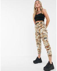 Bershka Pantalon cargo avec ceinture - Imprimé camouflage - Multicolore