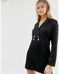 Reclaimed (vintage) - Inspired Tux Playsuit With Vintage Button Detail - Lyst