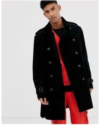 ASOS Cord Trench Coat - Black