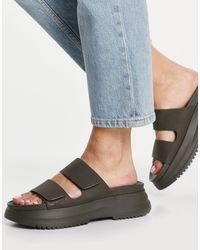 Pull&Bear Slip On Chunky Sandal - Green
