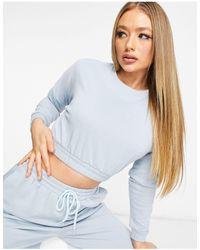 South Beach Oversized Cropped Sweatshirt - Blue