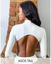 ASOS ASOS DESIGN Tall - Body color crema con collo alto a coste aperto dietro e con maniche lunghe - Multicolore