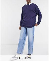 Reclaimed (vintage) Vaqueros holgados con lavado descolorido sostenible estilo años 90 - Azul