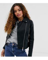 304db9583 Leather Look Biker Jacket In Black