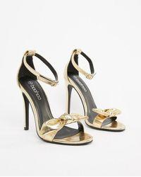 b7737f9f5a7 Boohoo Strappy Gladiator Heeled Sandals In Metallic in Metallic - Lyst