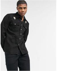 Bolongaro Trevor Chemise à manches longues en jean avec motif crâne - Noir