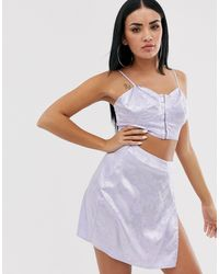Missguided Satin Crop Top With Hook And Eye - Purple