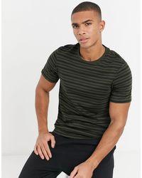 New Look Camiseta color caqui oscuro a rayas - Verde
