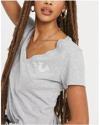 True Religion Deep V Logo T Shirt - Grey