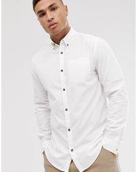 Jack & Jones Originals Poplin Long Sleeve Shirt In White