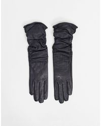 ASOS – Lange, geraffte Touchscreen-Handschuhe aus schwarzem Leder