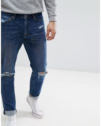 Abercrombie & Fitch - Stretch Distressed Jeans In Mid Wash - Lyst