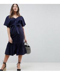 ASOS - Asos Design Maternity Linen Button Through Pephem Midi Dress - Lyst