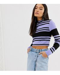 Collusion Color Block Ribbed Crop Sweater - Blue