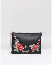 Oasis Rose Embellished Clutch - Black