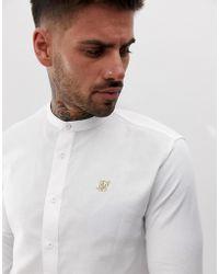 SIKSILK Camisa blanca con cuello henley - Blanco
