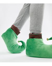 ASOS - Christmas Elf Slippers In Green With Bell - Lyst