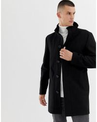 French Connection Wool Rich Funnel Neck Coat - Black