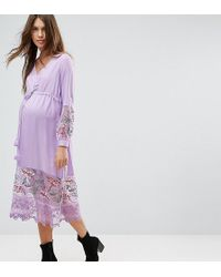 ASOS - Midi Dress With Embroidery And Tie Detail - Lyst