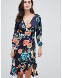 Liquorish - Wrap Midi Dress In Floral Print - Lyst