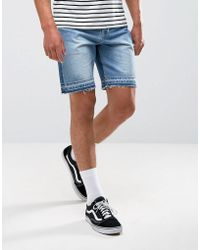 ASOS - Denim Shorts In Slim Mid Wash Blue With Cut And Sew Detail - Lyst