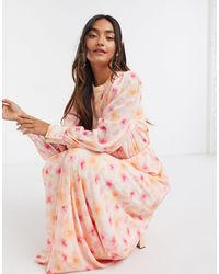 Vila Maxi Tea Dress With Balloon Sleeves - Pink