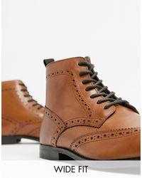 ASOS - Светло-коричневые Кожаные Ботинки-броги С Натуральной Подошвой - Lyst