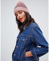 Vero Moda Berretto a righe lavorato a maglia con pompon - Rosa