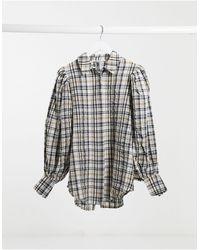 NA-KD Коричневая Oversized-рубашка В Клетку С Пышными Рукавами -коричневый