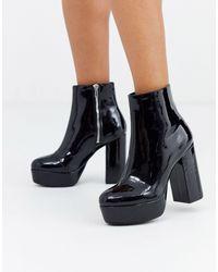 Monki Platform Faux Leather High Heel Boots - Black