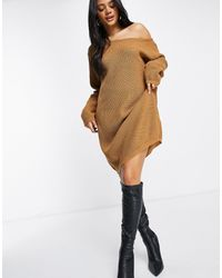 Fashionkilla Knitted Slouchy Off Shoulder Jumper Dress - Brown