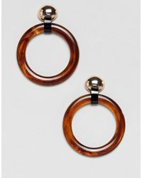 Stradivarius - Circle Tortoise Earrings In Gold - Lyst