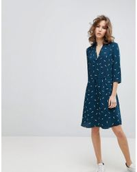 SELECTED   Printed Tie Waist Dress   Lyst