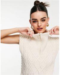 Mango Zip Top Cable Knit Vest - Natural