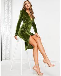 Naanaa Plunge Ruched Midi Dress - Green