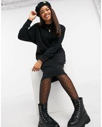 Monki Mindy - Robe pull mi-longue en coton biologique - Noir